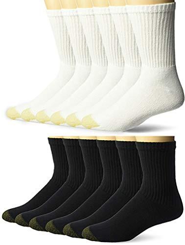 Gold Toe Men's Cushioned Cotton Short Crew Socks, 12 pairs(Shoe Size: 6-12.5(Black/White) COMBO