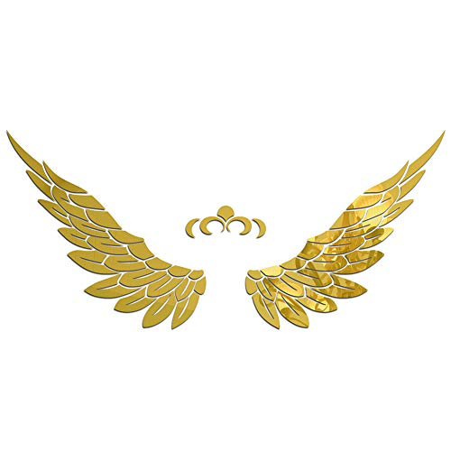 baofengxue Wings 3D Stereo Wall Stickers Acrylic self-Adhesive Children Angel Wings Adult DIY Home Decoration Stickers Bedroom Living Room(Gold) -