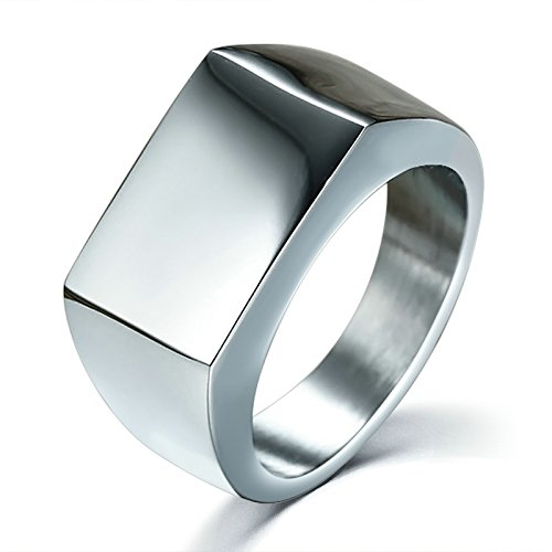 - AMDXD Jewelry Stainless Steel Rings for Men Titanium Ring Rectangular Slip Surface Silver Size 10