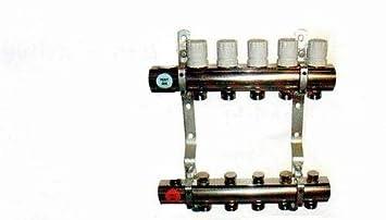 Fussbodenheizung Fl/ächenheizung Heizkreisverteiler HKV-2 Kreise Messing vernickelt mit Durchflu/ßmengenmesser 1 Anschlussset