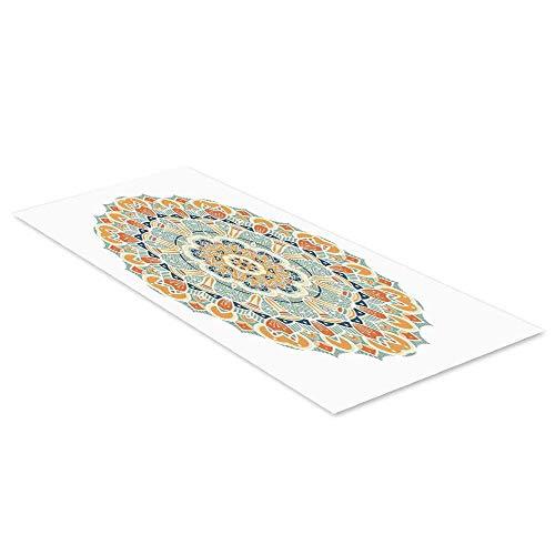 C COABALLA Mandala Waterproof Floor Sticker,Ethnic Indian Traditional Pattern Cosmos Symbol Geometric Ornamental Motif for Kitchen Living Room,47.2
