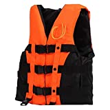 Odowalker Life Jacket Buoyancy Compensator Vest with Emergency Whistle and a Inside Pocket for Boating, Water Skiing,Fishing,Canoeing,Rafting and Other Water Sport for Kids Adult (Orange, XXL)