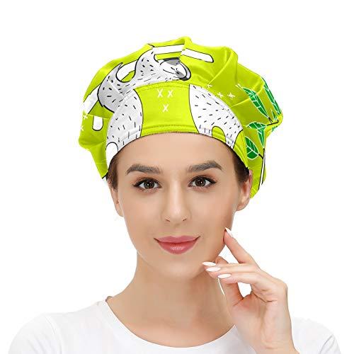 N/W Women's Working Cap Sloths Lovel Green. Cute Head Cover & Beanies with Upgraded Sweatband Adjustable Fluffy Cap Headdress-Ladies/Men