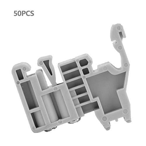50pcs 35mm DIN Rail Terminal Block End Stopper Mounting Clips Gray Guide Rail Clip(12)