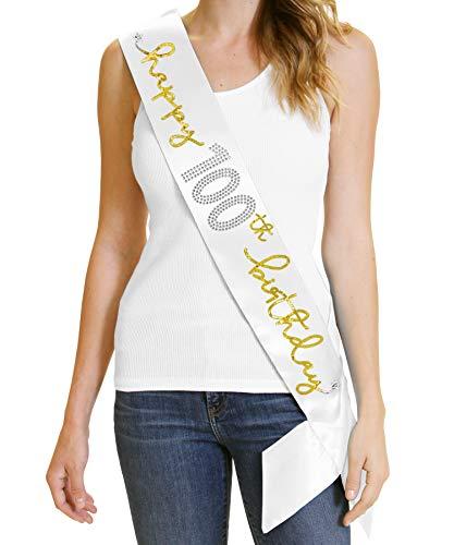 Happy 100th Birthday Gold Sash - Premium 100th