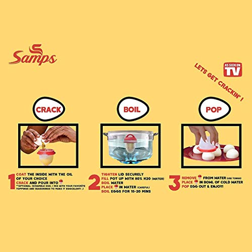 Hard Boiled Egg Cooker Prime without the Shell, Non-Stick Silicone, Soft Maker Egg Poacher, 6 PACKS by Samps (Image #3)