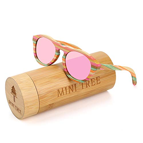 Mini Tree Polarized Bamboo Sunglasses Fishing Glasses With Colorful lines (Pink, ()