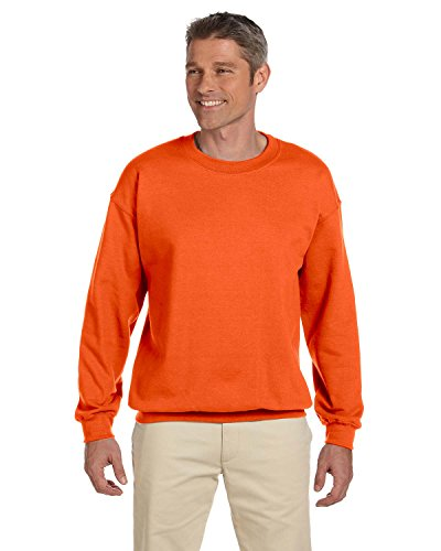 Jerzees Adult Preshrunk Fleece Crewneck Sweatshirt, Sfty Orange, Medium