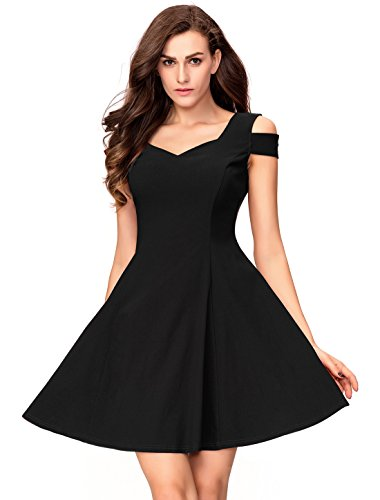 Petite Little Black Dress - InsNova Women's Cold Shoulder Little Cocktail Party A-line Skater Dress (X-Small, Black)