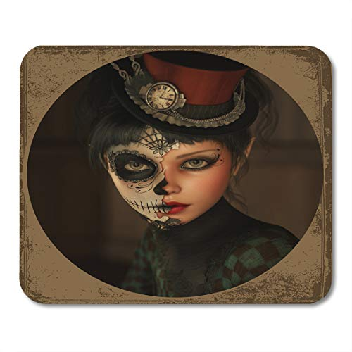 (Nakamela Mouse Pads Fantasy Death 3D Computer Graphics of Girl with Sugar Skull Makeup and Topper Her Head Mask Mexican Mouse mats 9.5