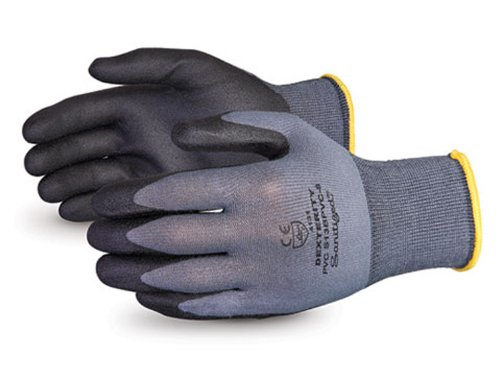 Pack of 1 Dozen Size 9 Superior S13BPVC Dexterity Nylon String Knit Glove with Foamed PVC Coated Palm Work Gray//Black 13 Gauge