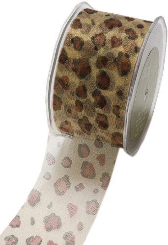 May Arts 2-Inch Wide Ribbon, Sheer Leopard Print (Ribbon F70)