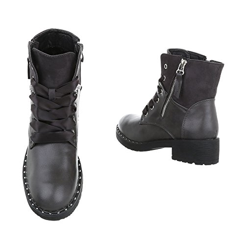 Boots Ankle Block Women's Lace at Up Grey Design Ital Boots Heel wO7qYaU