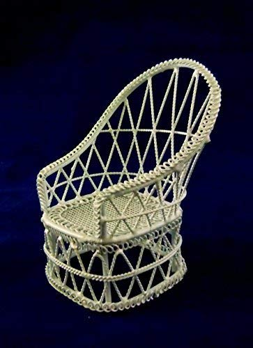 - Vanity Fair Dolls House Miniature 1:12 Scale Furniture White Wire Wrought Iron Wicker Chair