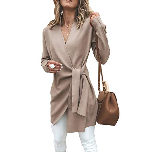 Women's Open Front Irregular Trench Coat Long Sleeve Raw Cut Hem Waterfall Collar Cardigan with Belt - Jacket Belted Wrap