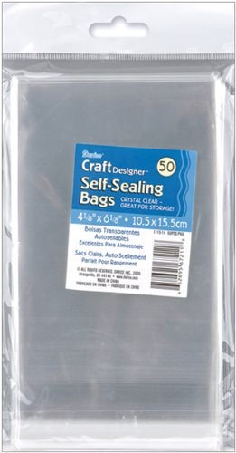Darice 1115-14 50/Pack Plastic Self Sealing Bags, 4-1/8 by 6-1/8-Inch, Clear