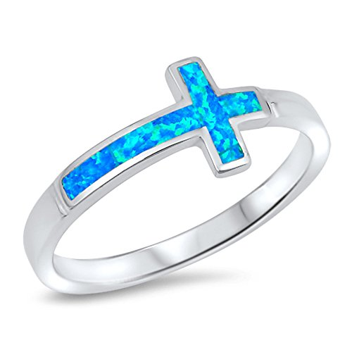 (Blue Simulated Opal Sideways Cross Ring New .925 Sterling Silver Love Band Size 4)