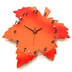 Maple Leaf Wall Clock Mute Quiet Silent Non-ticking Living Dining Bed Room Wall Decoration Ready to Hang