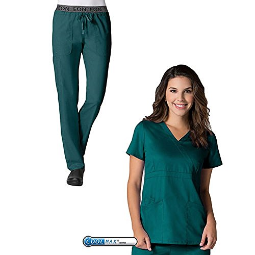 EON by Maevn Mock Wrap Top & 7 Pocket Waistband Cargo Pant Scrub Set (X-Large Tall, Hunter Green) by EON