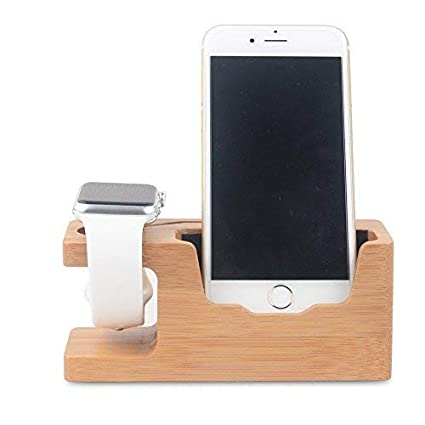 WOWO Cell Phone iWatch Stand 2 in 1 Bamboo Wood Docking Station Office  Electronic Organizer Cradle Holder Compatible for Apple Watch iPhone  Samsung