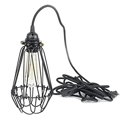 Industrial Vintage Style Hanging Pendant Light Fixture Thick Metal Wire Cage , Lamp Guard, Adjustable Cage Openings to Different Styles , Black