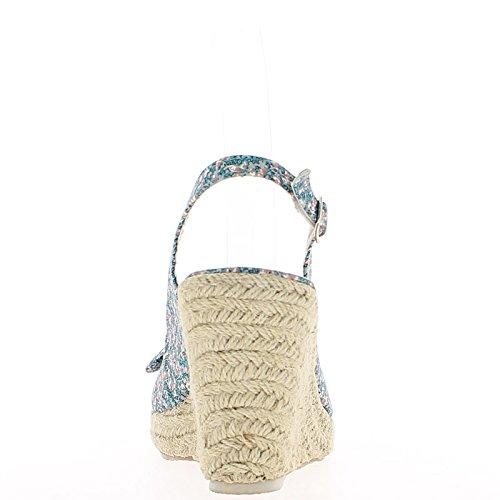 Sandales compensées bleues avec motifs à talon de 9,5cm et plateau avec noeud