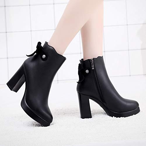 Tacco Cerniera Plateau Alto Nero Stivali Con Nappe Nere Shoes Yan Inverno Autunno Scarpe Ruvido Lady's Fashion Donna Grosso 17Sq7ZY