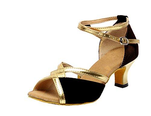 Gaorui women ladies glitter ankle strap dance shoes buckle mid heel peep toe latin salsa waltz indoor dance shoes Black dU1V2