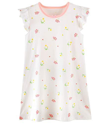 Auranso Girls' Princess Nightgowns Heart Print Sleepwear Flower White 9-10 Years