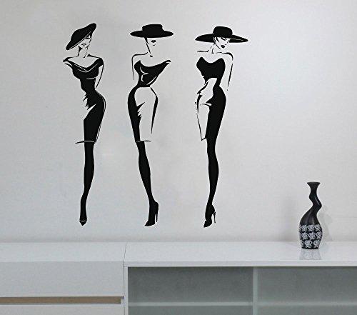 Wall Decal Window Sticker Beauty Salon Woman Face Fashion Style Clothing Boutique Dress Black Dress Model Hat t225