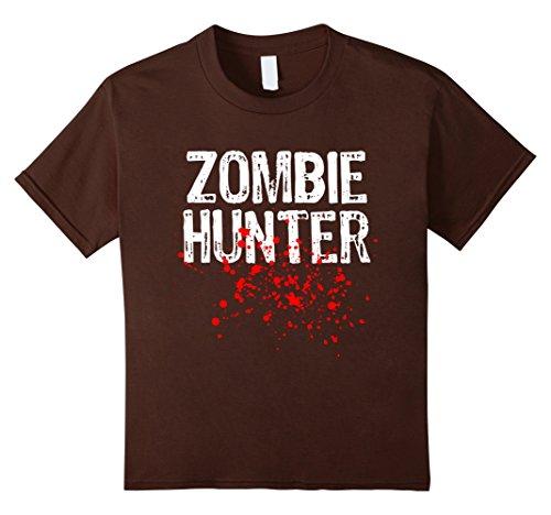 Kids Zombie Hunter Halloween T-shirt 8 Brown (Crazy 8 Halloween 2017)