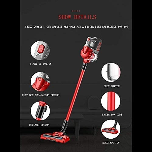 SMLZV Bâton Aspirateur sans fil, Aspirateur portatif domestique, 2000mAh batterie rechargeable, LED d\'éclairage avant, for la maison et voiture