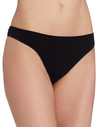 (Only Hearts Women's Organic Cotton Basic Thong Panty, Black,)