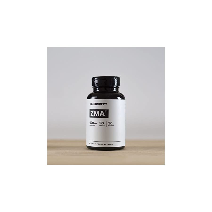 VitaDirect Premium ZMA Supplement, 490mg per Serving, 90 Vegan Capsules, for Men and Women