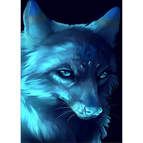 (Smdoxi Wolf Pattern Animal DIY Digital Diamond Painting Set, Crystal Rhinestone Embroidery Cross Stitch Art Craft Supply Canvas)