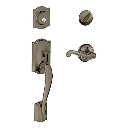 Camelot Single Cylinder Handleset and Right Hand Flair Lever, Antique Pewter (F60 CAM 620 FLA RH)