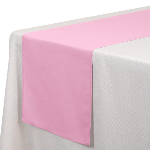 VEEYOO 1 Piece 14x108 inch Polyester Table Runner for Restaurant Kitchen Dining Wedding Party Banquet Events, Pink