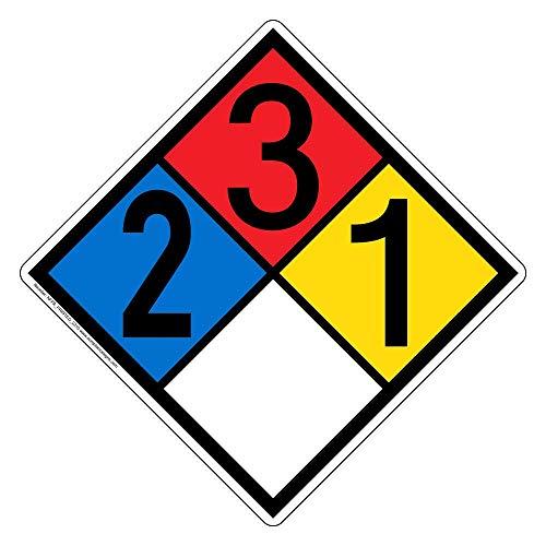 ComplianceSigns Vinyl NFPA 704 Hazmat Diamond Label with 2-3-1-0 Rating, 10 x 10 in. Multi Color ()