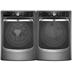 Maytag Maxima XL Front Load Steam Washer and Steam Dryer SET (Electric Dryer) in Graphite