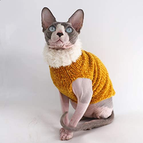Sphynx Cat Clothes Winter Warm Faux Fur Sweater Outfit, Fashion high Collar Coat for Cats Pajamas for Cats and Small Dogs Apparel, Hairless cat Shirts Sweaters (XL (9.9-13.2 lbs), Ginger) 20