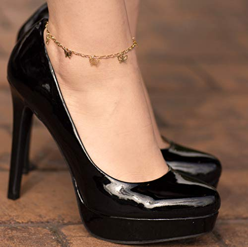 Lifetime Jewelry 24k Gold Plated Butterfly Ankle Bracelet to Wear at Party or Beach for Women and Teen Girls - Cute Durable Anklet - 9 10 and 11 inches - Made in USA (11.0) by Lifetime Jewelry (Image #5)