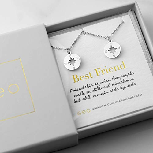 Best Friend Necklaces For Two Silver Compass Necklaces For Women Best Friend Gifts BFF Necklace For 2 Friendship - Nickel Pendant Geo