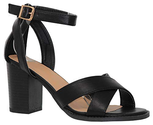 MVE Shoes Women's Heeled Sandals - Cross Strap Block Heel Comfort Sandal - Open Toe Summer Shoes, myth-86 Black 7