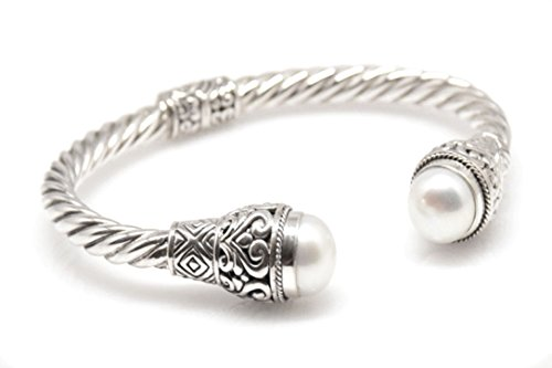 BluSilver 925 Sterling Silver Hinged Twisted Cable Cuff Bracelet with Filigree and White Cultured Mabe Pearl End -