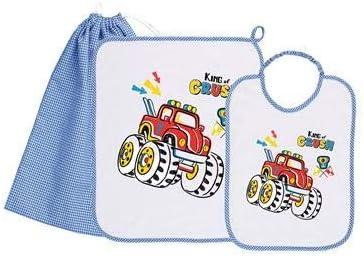 siggi Set bambino bavagliolo+asciugamano+sacchetto quadretto bianco//azzurro