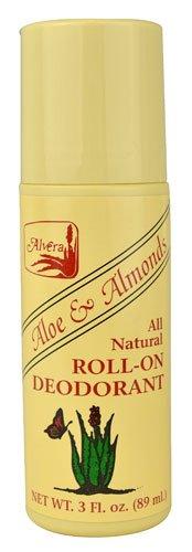 Alvera All Natural Roll-On Deodorant Aloe and Almonds -- 3 oz - 3PC