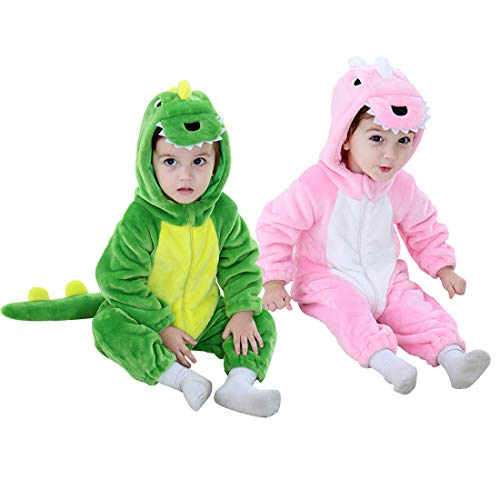 Dinosaur Costume Kids Hooded Onesie Animal Costume Halloween (Pink, 2-3 Years)]()