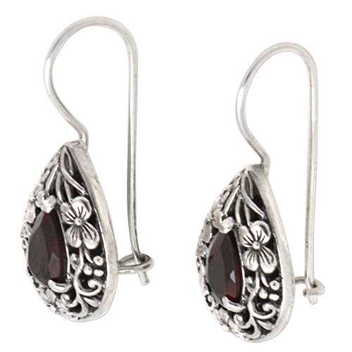 NOVICA Garnet .925 Sterling Silver Teardrop Dangle Hook Earrings, Lovely Daisies