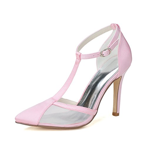 Clearbridal Women's Pointed Toe Stiletto Pumps Heels Satin Wedding Shoes and Prom Shoes ZXF0608-04 Pink k3djFAksFN