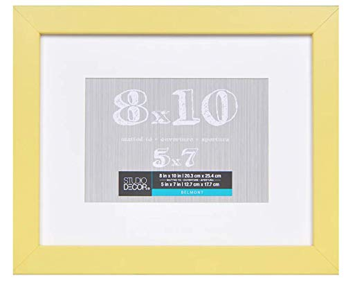 8 x 10 Yellow Picture Frame Assortment of Colored Photo Frames - Displays 5x7 with Mat or 8x10 W/O Mat - Wall Mounting Material Included ... (Yellow)